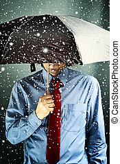 affärsman, paraply, oväder