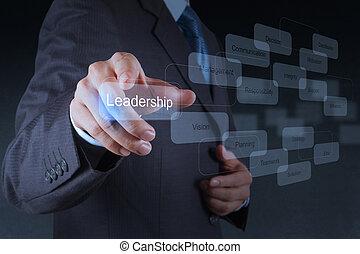 affärsman, peka, ledarskap, skicklighet, begrepp