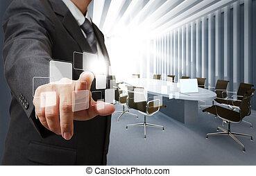 affärsman, peka, virtuell, knäppas, in, stiga ombord rum