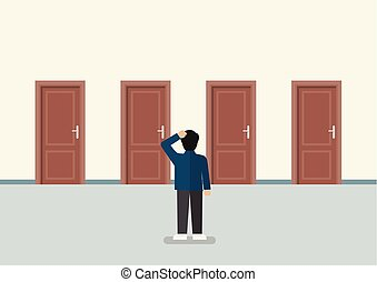 affärsman, rättighet, dörr, välja