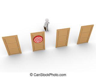 affärsman, rättighet, dörr, välja, undrande