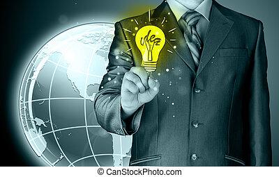 affärsman, rörande, lätt, av, idé