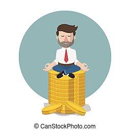 affärsman, rikedom, avkoppling, illustration