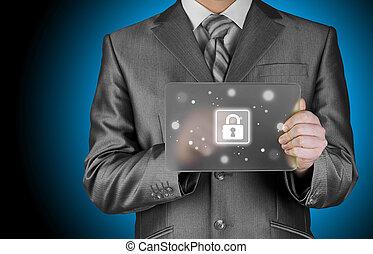 affärsman, säkerhet, pressande, knapp, virtuell