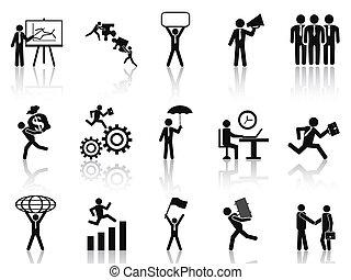 affärsman, sätta, svart, arbete, ikonen