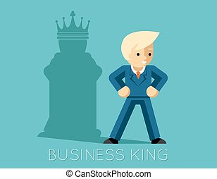 affärsman, schack, king., affär, skugga, kung