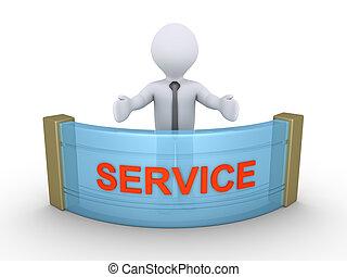 affärsman, skaffande, service