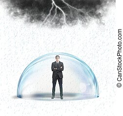 affärsman, skyddad, från, den, kris