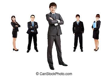 affärsman, smart, asiatisk affärsverksamhet, lag
