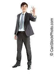 affärsman, smart, gest, ok, längd, fyllda