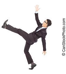 affärsman, smyga, och, falla, och, a, rolig, pose