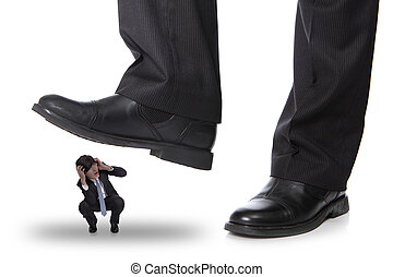 affärsman, steping, på, a, rädsla, man
