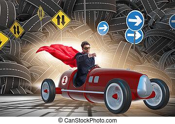affärsman, superhero, drivande, roadster, årgång