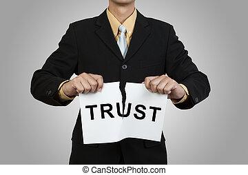 affärsman, tår, papper, med, ord, förtroende