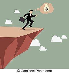 affärsman, tar, a, hoppa av tro, på, clifftop