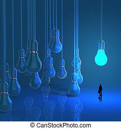 affärsman, tittande vid, lightbulb, 3, idé, diagram, som, framgång, begrepp