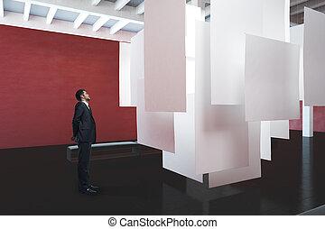 affärsman, tittande vid, tom, affisch