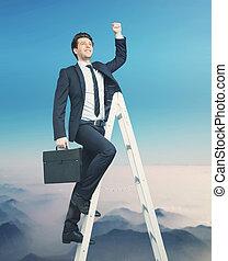 affärsman, topp, försökande, ambitiös, få