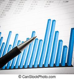 affärsman, topplista, workplace, investering, hans, analysering
