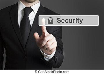 affärsman, touchscreen, säkerhet