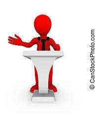 affärsman, tribune, talande, 3