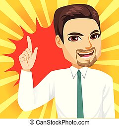 affärsman, uppe, pekande
