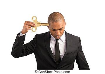 affärsman, urladdning, energi