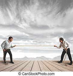 affärsman, utmaning, rep