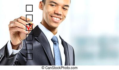 affärsman, välja, en, av, tre, alternativ