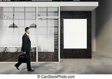 affärsman, vandrande, in, möte rum