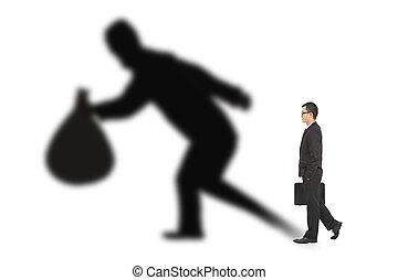 affärsman, vandrande, och, räcka väska, med, tjuv, skugga