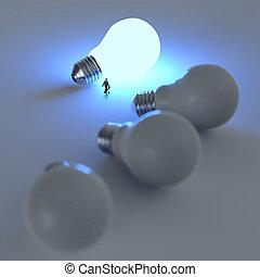 affärsman, vandrande, till, växande, lightbulb, 3, idé, diagram, som, framgång, begrepp