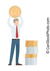 affärsman, vektor, mynt, illustration, räcker