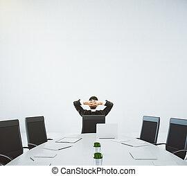 affärsman, vila på, den, stol, in, möte rum, med, oval, bord, och, stol, 3, render
