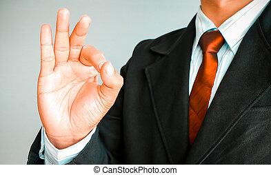 affärsman, visande,  hand,  OK, underteckna