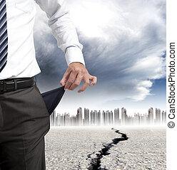affärsman, visande, hans, tömma ficka, och, finansiell, kris, begrepp