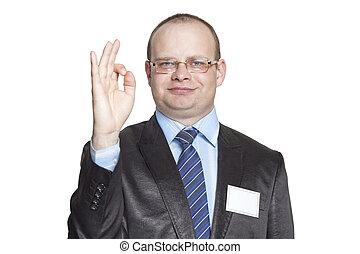 affärsman, visande, ok, gest, hand