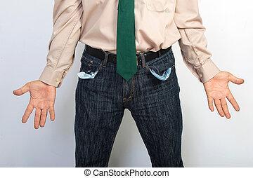 affärsman, visande, tömma ficka, begrepp, för, bankrutt, fattigdom, eller, utfattig