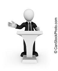 affärsman, vit, tribune, talande, 3