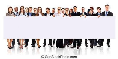 affärsverksamhet folk grupp, holdingen, a, baner, annons, isolerat, vita