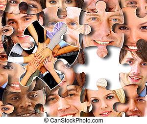 affärsverksamhet folk grupp, in, ett pussels delar