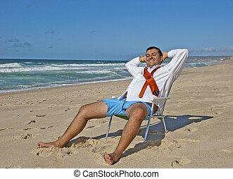 affärsverksamhet herrar, avkopplande, stranden, !