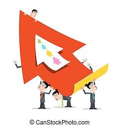 affärsverksamhet herrar, holdingen, stor, röd, papper, pil