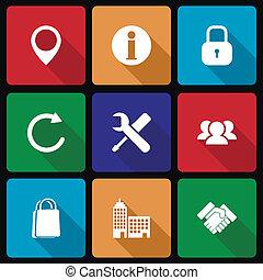 affärsverksamhet ikon, med, länge, skugga, vol, 2