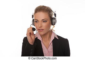affärsverksamhet kvinna, bärande hörlurar