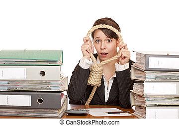 affärsverksamhet kvinna, med, sling.