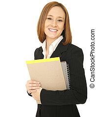 affärsverksamhet kvinna, stående, och, le