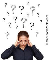 affärsverksamhet kvinna, tänkande, hårt, med, många,...