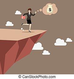 affärsverksamhet kvinna, tar, a, hoppa av tro, på, clifftop