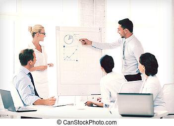 affärsverksamhet lag, arbete, med, flipchart, in, kontor